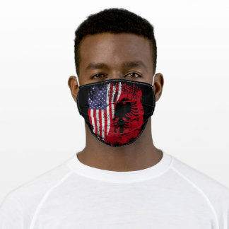 Albanian Roots American Flag Face Mask
