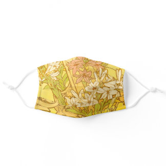 Alfonse Mucha Art Nouveau lily flowers Adult Cloth Face Mask