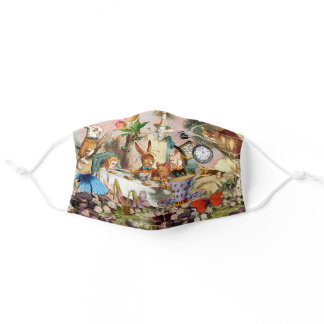 Alice in Wonderland tea party characters Adult Cloth Face Mask