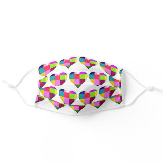 All Over Colorful Quilt Hearts 2 Sizes Adjustable Adult Cloth Face Mask