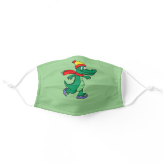 Alligator skating with hat and scarf adult cloth face mask