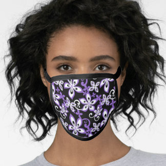 ALOHA HAWAII (BLACK/PURPLE) FACE MASK