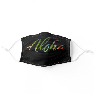 Aloha Tropical Leaves Pattern Lettering  - Hawaii Adult Cloth Face Mask