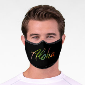 Aloha Tropical Leaves Pattern Lettering  - Hawaii Premium Face Mask