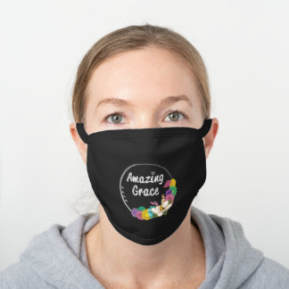 Amazing Grace Typography Colorful Floral Circle Black Cotton Face Mask