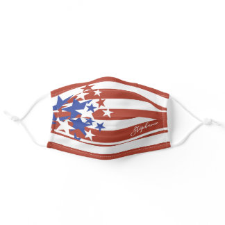 America Patriotic Red White Blue Stars Name Script Adult Cloth Face Mask