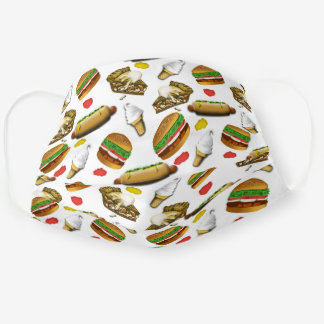 American Cookout Pattern - Burgers | Hot Dogs |Pie Adult Cloth Face Mask