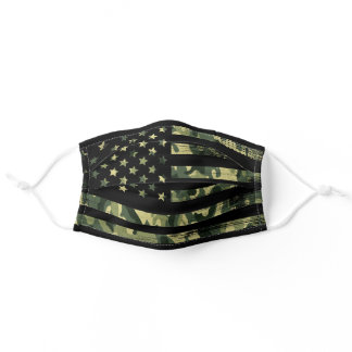American Flag, Army Green, Camouflage Soldier Adult Cloth Face Mask