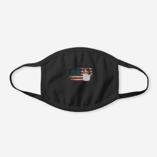 American Flag Australian Shepherd Black Cotton Face Mask