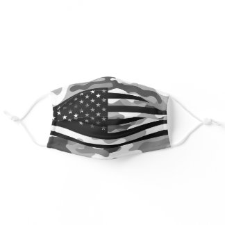 American Flag Camouflage Gray Camo Patriotic USA Adult Cloth Face Mask