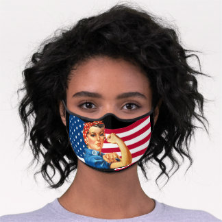 American flag cool patriotic Rosie the riveter Premium Face Mask