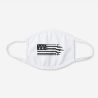 American Flag Guns - for Veteran, 4th of July White Cotton Face Mask