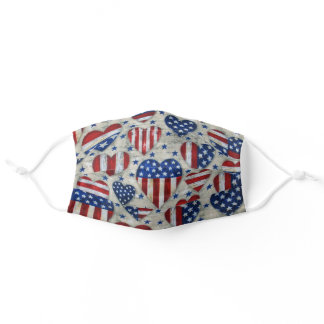 American Flag Heart Distressed Pattern Adult Cloth Face Mask