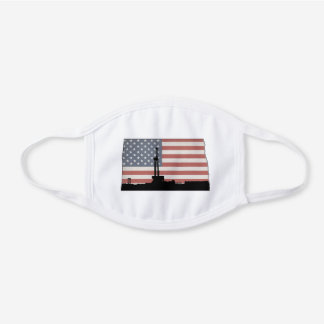 American Flag North Dakota Oil Drilling Rig Design White Cotton Face Mask