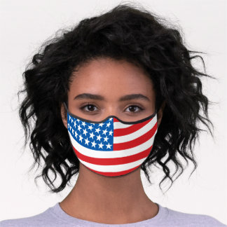 American Flag Red White Blue Stripes Stars Pattern Premium Face Mask