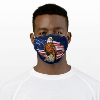 American Flag Standing Eagle Rock Patriotic Adult Cloth Face Mask