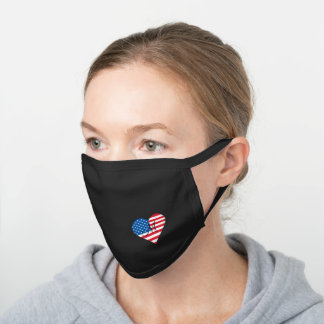American Flag Stars and Stripes Heart Monogrammed Black Cotton Face Mask