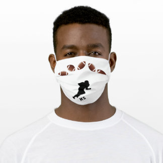 American Football Ball Player Silhouette Monogram Adult Cloth Face Mask