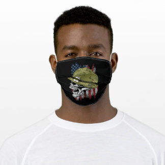 American skull soldier adult cloth face mask