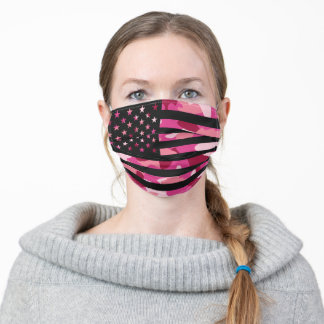 American USA Flag Camouflage Black Pink Camo Adult Cloth Face Mask