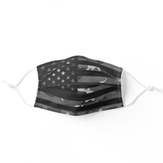 American USA Flag Camouflage Dark Black Camo Adult Cloth Face Mask
