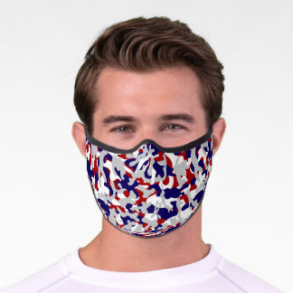 American USA Red White Blue Gray Camouflage Premium Face Mask