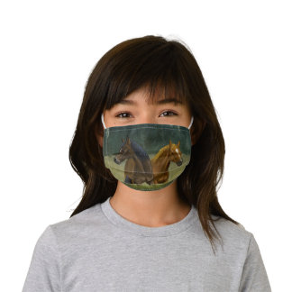American Wild Horses in the prairie Kids' Cloth Face Mask
