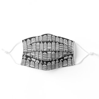 Amsterdam Canal Row Houses Charcoal Silver Pattern Adult Cloth Face Mask
