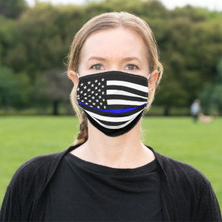 An American Thin Blue Line on a Adult Cloth Face Mask
