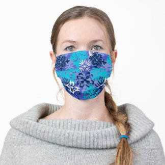 Anahola Bay Hawaiian Abstract Floral- Periwinkle Adult Cloth Face Mask