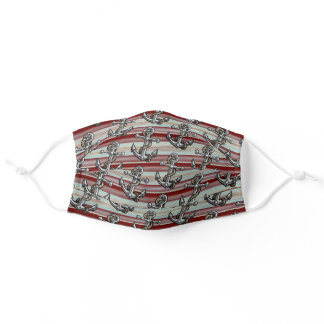 Anchor Pattern On Seafoam Green Dark Red Stripes Adult Cloth Face Mask