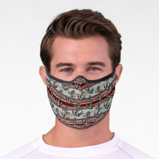 Anchors On Gray Green Dark Burgundy Red Stripes Premium Face Mask