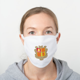 Andorran coat of arms white cotton face mask