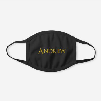 Andrew Man's Name Black Cotton Face Mask