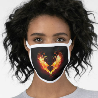 Angel Fire Heart with Wings Face Mask