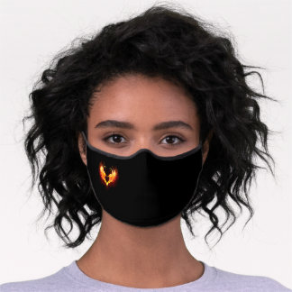 Angel Fire Heart with Wings Premium Face Mask