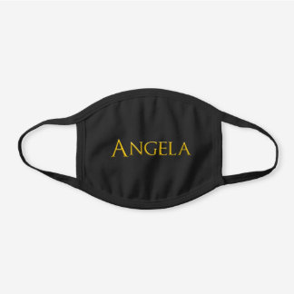 Angela Woman's Name Black Cotton Face Mask