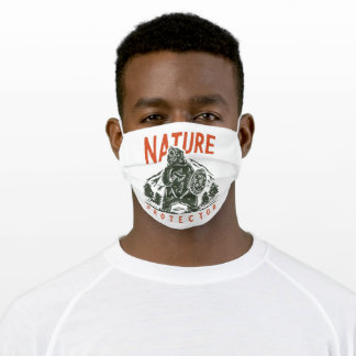 Angry bear with mountain adult cloth face mask