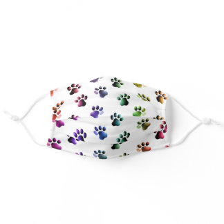 Animal Cat Dog Paw Print Pattern Rainbow Adult Cloth Face Mask