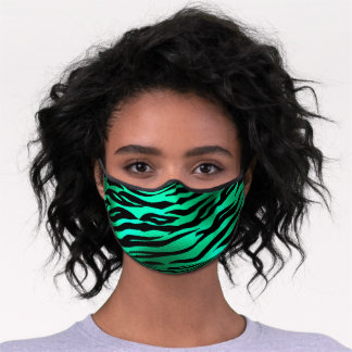 Animal Print Zebra Skin Bright Green Chic Glam Fur Premium Face Mask