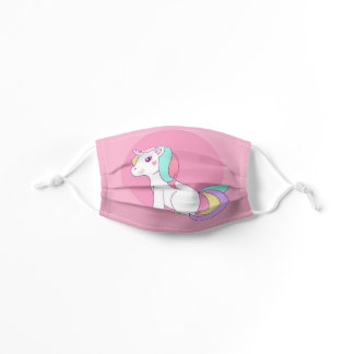 Anime Unicorn in Pink Little Girl's Cute Kids' Cloth Face Mask