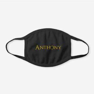 Anthony Man's Name Black Cotton Face Mask