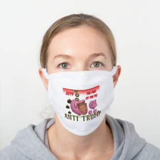 Anti Trump - The year of the pig - 2019, White Cotton Face Mask