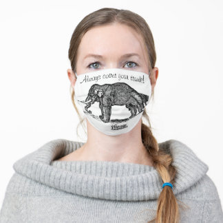 Antique 'Ugly' Elephant etching Victoriana/ Quirky Adult Cloth Face Mask
