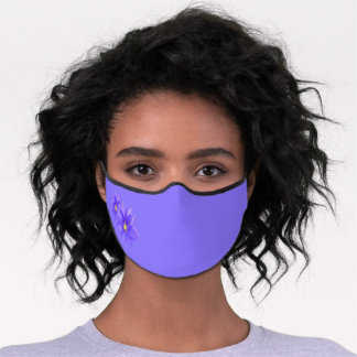 Any Color Background Purple Clematis Premium Face Mask