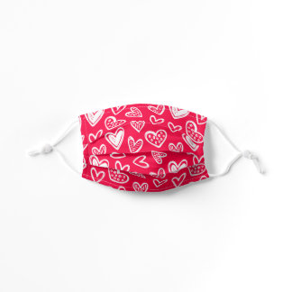 Any Color! Doodle Hearts Mask Munsell Carmine Red