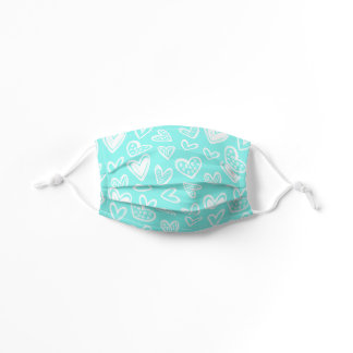 Any Color! Doodle Hearts Sketch on Bright Teal Kids' Cloth Face Mask