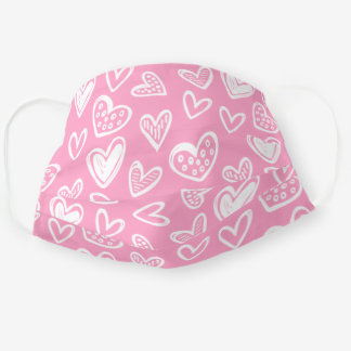 Any Color! Doodle Hearts Sketch on Carnation Pink Adult Cloth Face Mask