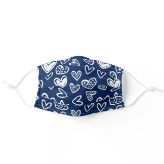 Any Color! Doodle Hearts Sketch on Dark Blue Adult Cloth Face Mask