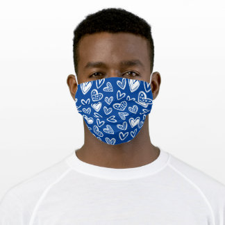 Any Color! Doodle Hearts Sketch on Dark Blue Cloth Face Mask